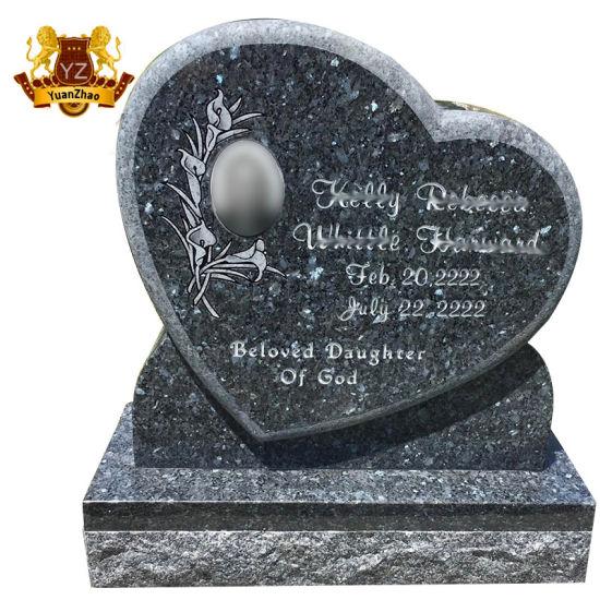 Custom Western Style Nature Stone Heart Shape Tombstone Monument