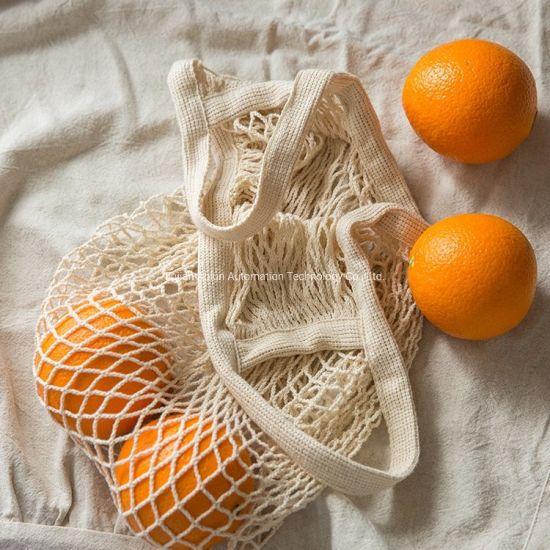 Reusable Organic Cotton Mesh Net Bag Vegetablefruit Shopping Bag with Long Handle