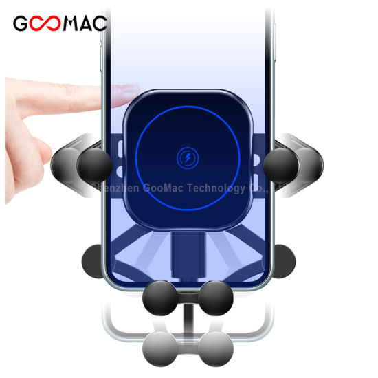 Wireless Charger with Stretchable Hook Smart Automatic Sensor Air Vent Mount 15W Fast Wireless Car Charger for iPhone