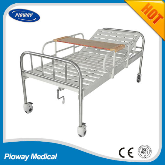 One Crank Stainless Steel with Steel Guardrail, Castor, Dinner Table Hospital Bed (PW-C04)