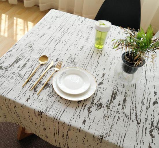 Vintage Cotton Linen Imitation Bark Wood Grain Decorative Tablecloth