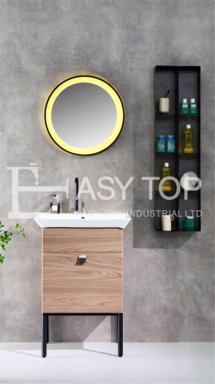 in Stock France Factory Customized Modern Style Wooden Floor Mounted One Sink Mirror Cabinet Bathroom