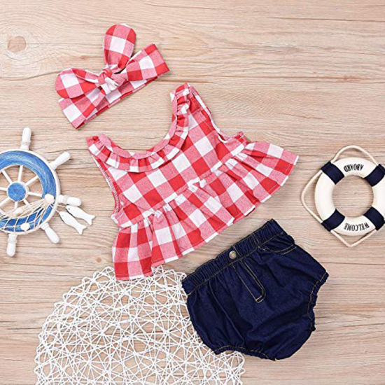 1b69cec0a Hot Sales Summer New Product Girl Checked Vest Female Treasure Cowboy Short  Pants Suit 3PCS Baby Girl Clothes