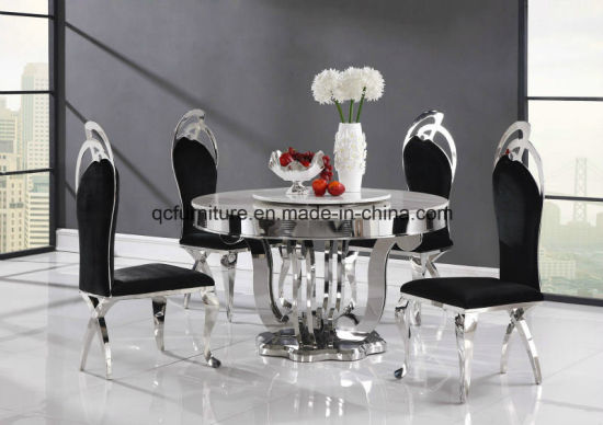 High Quality Dining Room Marble Top Round Rotating Table