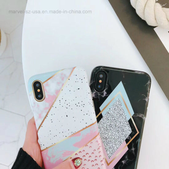 Candy Color Marble Phone Case Funny Geometry Splice Pattern Cases pictures & photos