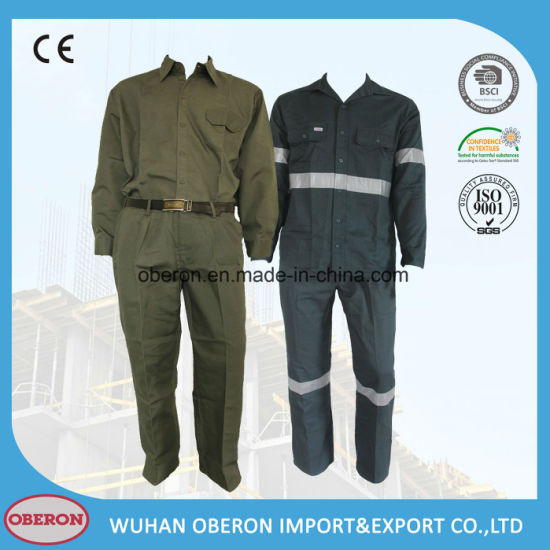 Cotton Factory Safety Work Clothes Workers Security Safety Reflective Tape Coverall Uniform for Oil Field