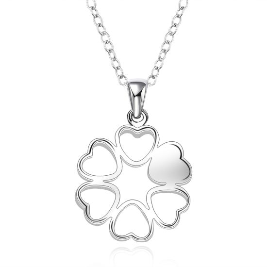 Foreign Trade Sales Flower Shape One Glaze Four Vacant Pendant Necklace Sterling Silver Plated Jewelry pictures & photos