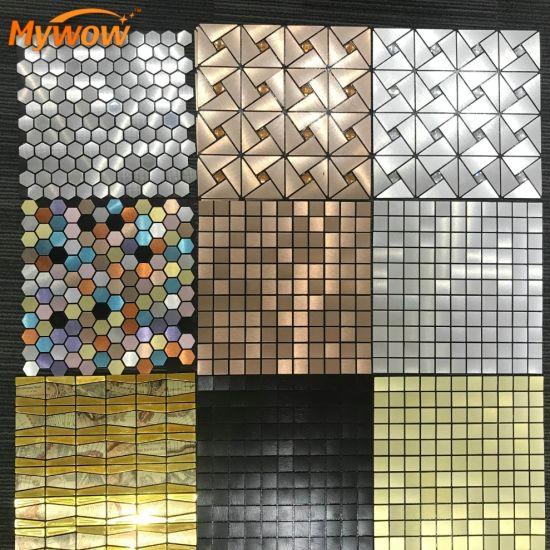 Kitchen Metal Aluminum Mosaic Ceramic Tiles Self-Adhesive Mosaic
