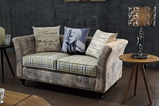 Loft Style Industrial Restaurant Furniture Denim Loveseat Double Sofa
