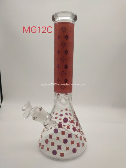 Colorful Gold Decal New Design Beaker Base Glass Water Pipes