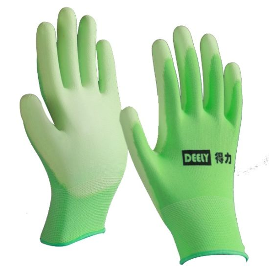 13 Gauge Colorful Polyester/Nylon Knit PU Palm Coating Gloves
