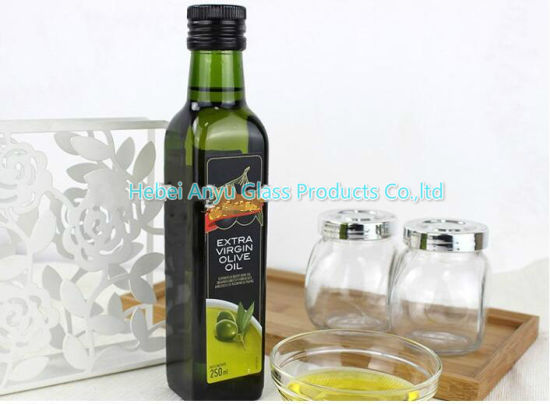 250ml 500ml 750ml Round /Square Dark Green Olive Oil Bottle Cooking Oil Glass Bottle pictures & photos