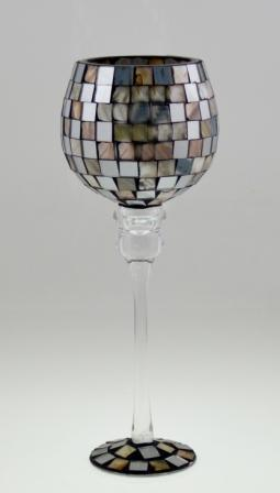 Wholesale LED Mosaic Wine Bottle Glass Candle Holder pictures & photos
