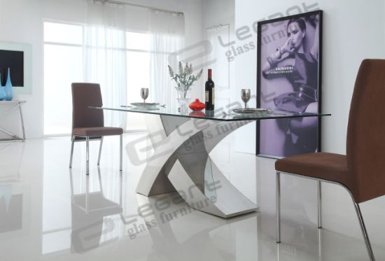 2014 Modern Glass Dining Table And Stainless Steel Dining Table