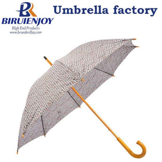 British Classic 190t Pongee Straight Stick Umbrella with Wooden Handle