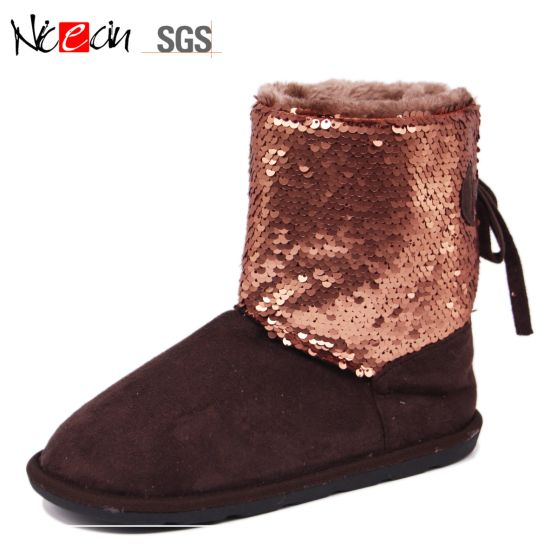 Fashion Snow Boots with Sequin and Bowknot for Lady