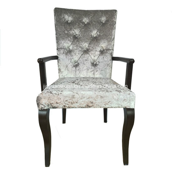 China Modern High Back Hotel Metal Dining Chairs With Arms Jy F72