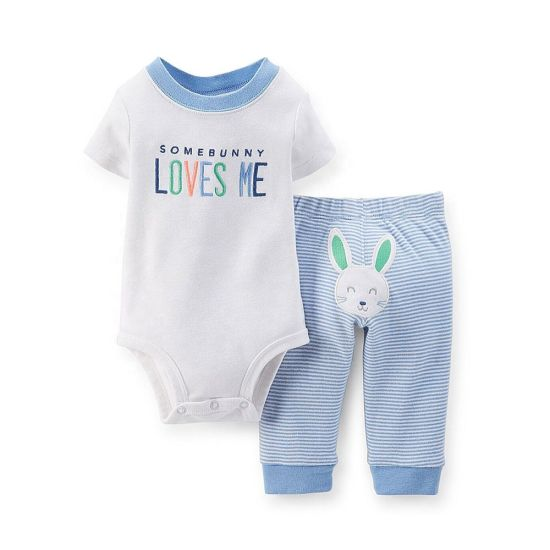 Baby Girls Newborn Somebunny Loves Me Bodysuit Striped Pant Set
