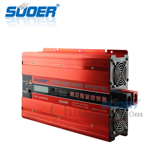 Suoer 3kw 24V to 230V High Power Pure Sine Wave Power Inverter (FPC-D3000B)