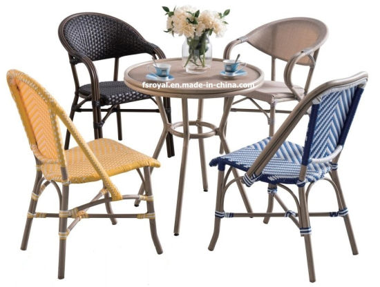 French Style Cafe Bamboo Look Rattan Wicker Chair Table Set Modern Garden Restaurant Outdoor Patio Dining Furniture Set
