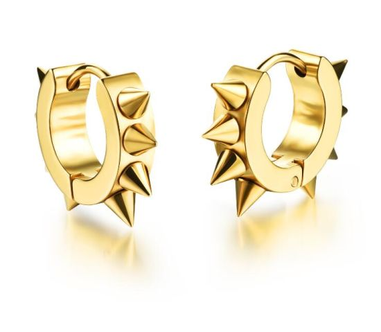 Gold Black Silver Color Gothic Punk Stud Earrings For Women Men 316l Stainless Steel Rivet Spike Rock Party Jewelry