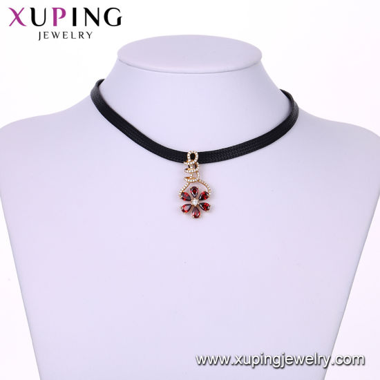 44427 Fashion Platinum Eye Tear Design Diamond Leaf Shaped Jewelry Necklace pictures & photos