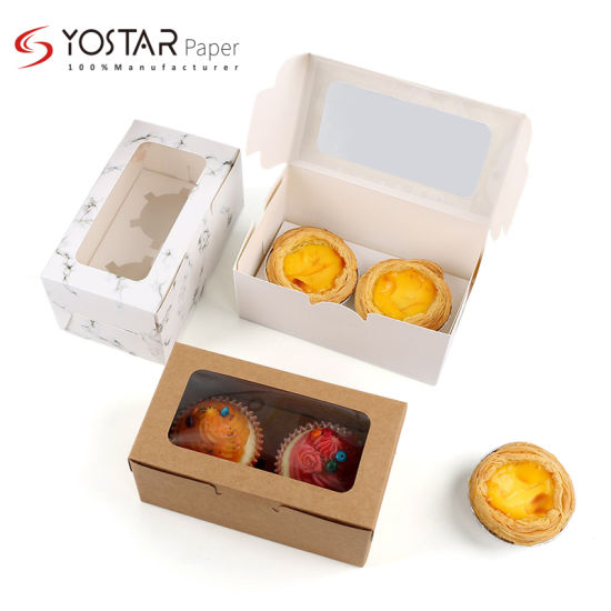 Custom Four Cup Pastry Cake Food Packing Paper Box with Logo