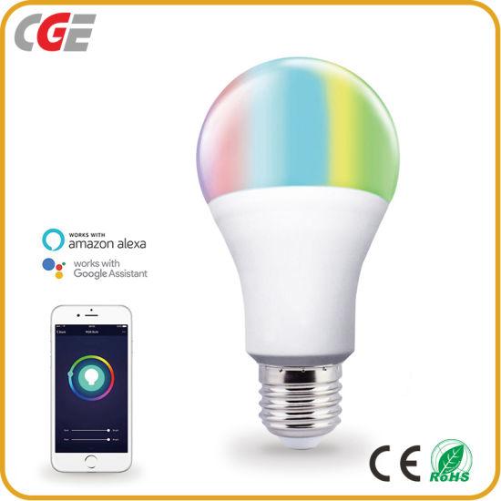 10W Google Assistant Alexa RGB Multicolor WiFi Remote E26 E27 LED Smart Bulb