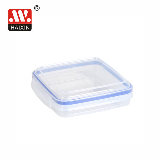 Square Nested Set 4 Clip Lock Plastic Food Container for Freezer Storage
