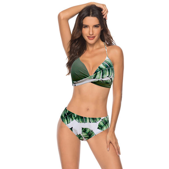 Sexy Push up Bikinis Set Swimwear Women Swimsuits Halter Leaf Print Beach Wear Bikini