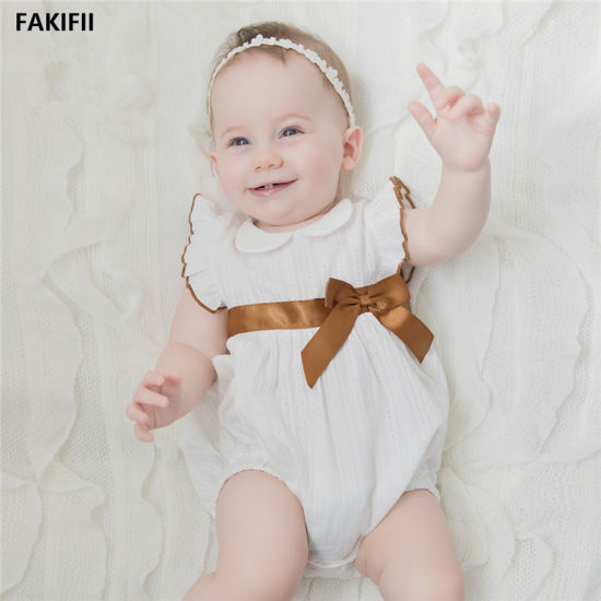 Newborn Baby Clothes Short Sleeve Girl Clothing Brand Design 100% Cotton Baby Rompers Costumes White