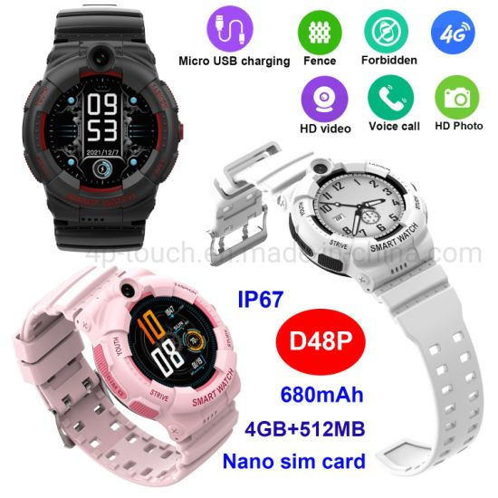 High Quality 4G IP67 Waterproof Precise Location Smart Safety GPS Tracker Watch for Kids with Video Call D48P