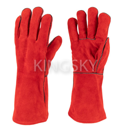 "14""/16"" Golden/Red Color Cow Split Leather Fully Lined Welder Welding Glove Work Glove with Ce Certificate"
