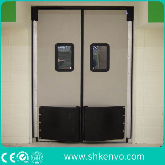 Hot Item Double Acting Swinging Action Thermal Insulated Stainless Steel Metal Impact Traffic Door For Food Factory Warehouse Restaurant Kitchen