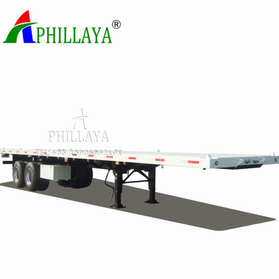 Double Axle Container Transport Flatbed Semi Trailer (03) pictures & photos