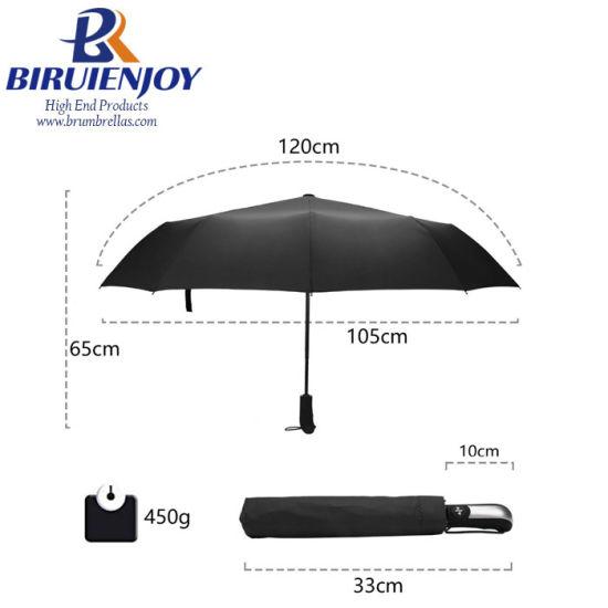 Wind Resistant Folding Automatic Pongee Umbrella Rain 10K Ribs