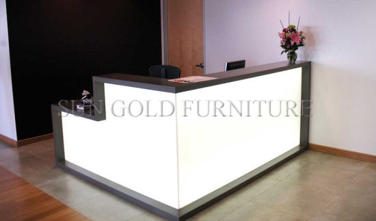 Modern L Shaped Counter Wooden Office Furniture Price Reception Desk Cash Sz Rd051
