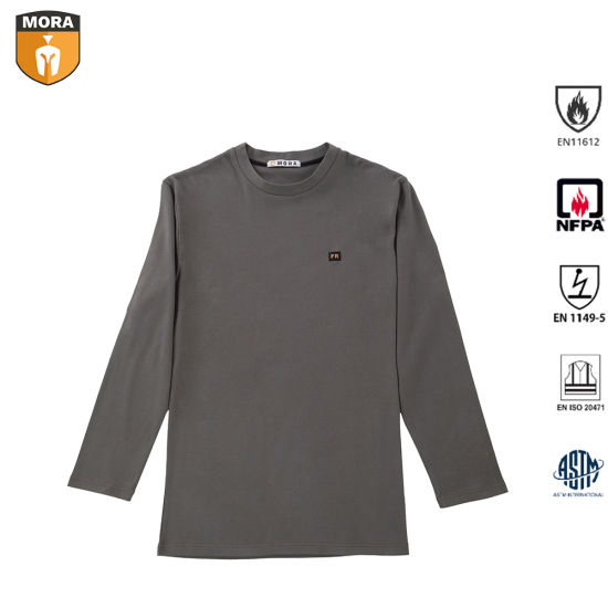 Men's 100% Fr Cotton Fr Clothing Safety Outdoor Comfortable Antiwear Workwear Sweatshirt Flame Resistant Henley Shirts with Round Collar