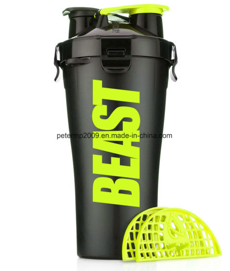 Custom BPA Free 700ml Plastic Gym Dual Shaker Cup pictures & photos