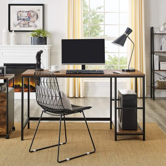 China Host Computer Desk With Storage Shelves And Free Large Monitor Stand Study Wooden Modern Industrial Home Office Table China Dual Monitor Computer Desk Portable Desk Computer Desk Writing Desk