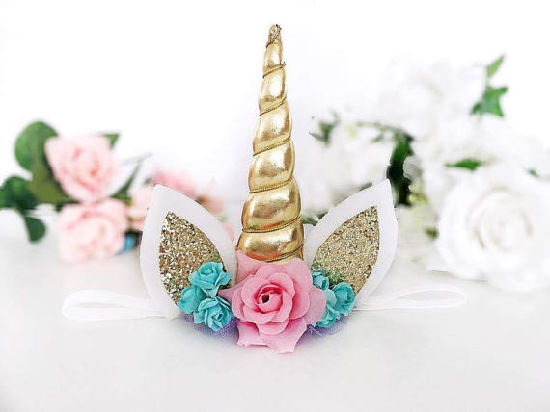 Birthday Party Rose Flower Unicorn Hair Clip Headband Pictures Photos