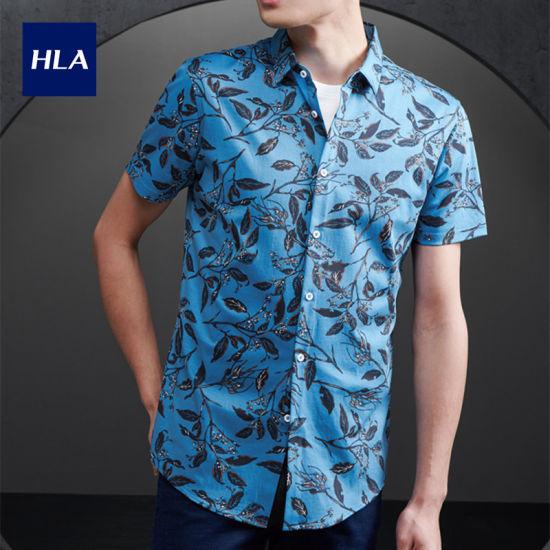 Hla Floral Pattern Short-Sleeved Knitted Shirt 2020 Summer New Soft Breathable Short Lining Men