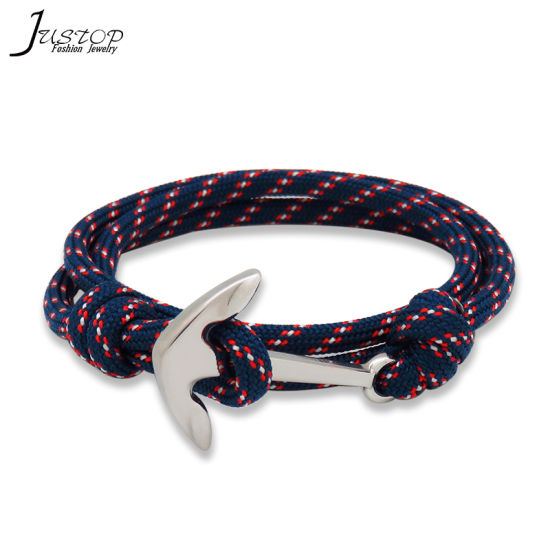 Fashion Stainless Steel Boat Anchor Adjule Rope Bracelet For Men Women