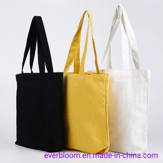 Wholesale Custom Logo Printed Eco Friendly Reusable 16oz Plain Grocery Shopping Tote Bag Recycled Canvas Cotton Bags