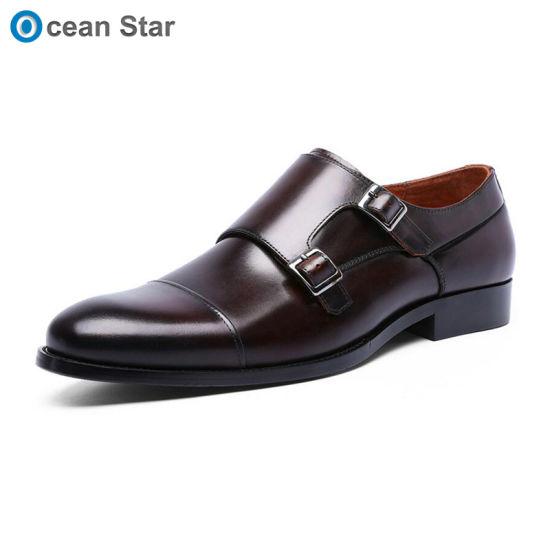 4d8ec78d27b46 2019 Latest Design Genuine Leather Upper Brown Monk Strap Men Dress Shoes