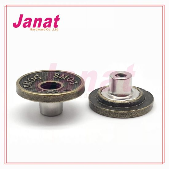 Smog Logo Alloy Hole Shank Button From Direct China Factory