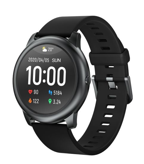 Haylou Solar Ls05 Smart Watch Metal Case 12 Sports Mode Sleep Management Heart Rate Monitor IP68 Waterproof 30 Days Standby for Ios Android Black