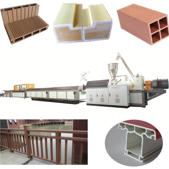 PP/PE PVC WPC Wood Plastic Composite Decking Floor Fence Post Window and Door Frame Profile Making Machine Extruder Machine