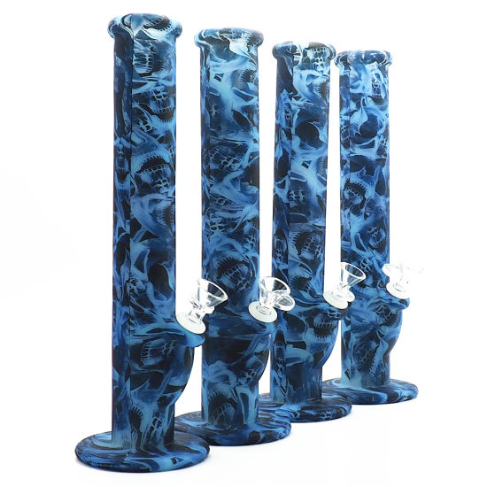 Glow in The Dark Alien Silicone Straight Pipe Oil Rig out of Print  Customization Silicone Smoking Water Pipes