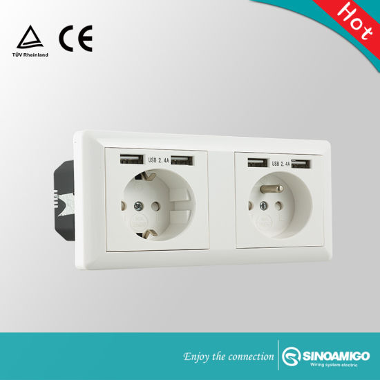 Fine China Two Gang European Usb Charger Wall Outlet China Wall Adapter Wiring Digital Resources Indicompassionincorg